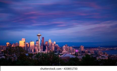 Space Needle and skyline at sunset in Seattle, Washington, USA