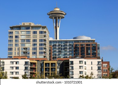 Space Needle and urban office blocks on sunny day, Lower Queen Anne District, Seattle, Washington, USA North America 20 September 2017