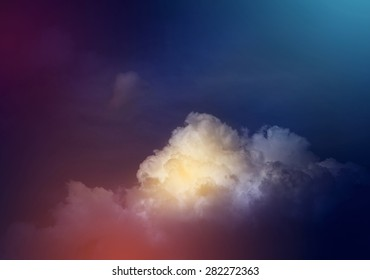 Space of night sky with cloud