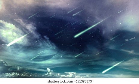 space night sky with cloud, star and meteor, abstract background
