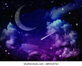 Space night sky in colorful light with cloud, star, meteor and moon, abstract background