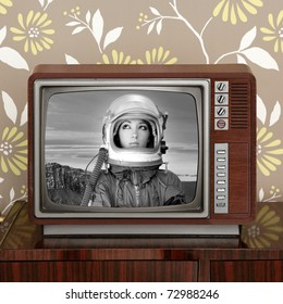 space odyssey mars astronaut on retro 60 tv moon discovery metaphor [Photo Illustration]