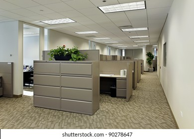 Space in office building with cubicles