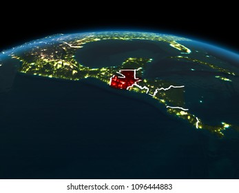 Space orbit view of Guatemala highlighted in red on planet Earth at night with visible country borders and city lights. 3D illustration. Elements of this image furnished by NASA.
