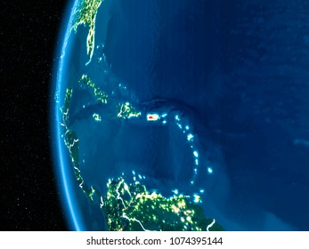 Space orbit view of Puerto Rico highlighted in red on planet Earth at night with visible country borders and city lights. 3D illustration. Elements of this image furnished by NASA.