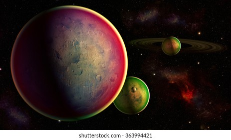 Space planets - Elements of this image furnished by NASA