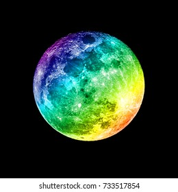space planets rainbow full moon