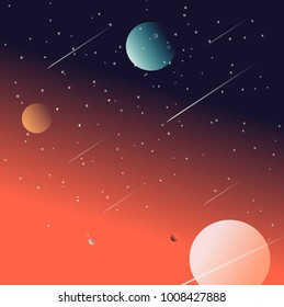 Space with planets and stars background  illustration design.
