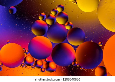 Space or planets universe cosmic abstract background. Abstract molecule atom sctructure. Water bubbles. Macro shot of air or molecule. Biology, physics or chemistry abstract background.