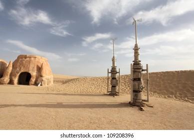 Space port in the desert Sahara Desert, Tunisia
