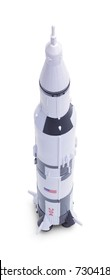 Space Rocket  Model Isolated on a White Background.