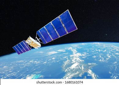 Space satellite orbiting over the ocean earth. Elements of this image furnished by NASA