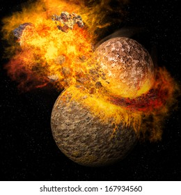 Space scene of asteroid impact on Planet