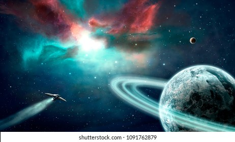 Space scene. Blue and red nebula with planets and spaceship. Elements furnished by NASA. 3D rendering