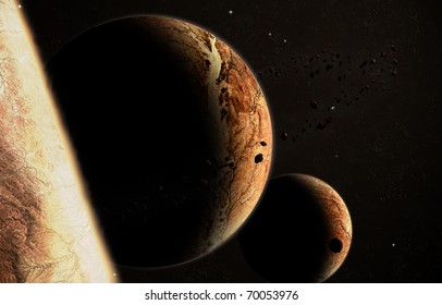 Space scene of planet and satellite alignment; asteroid belt