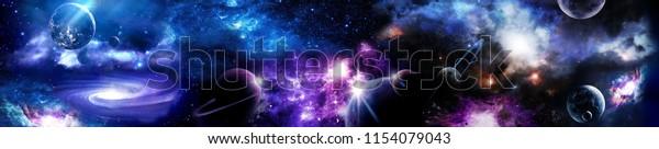 Космическая сцена с планетами, звездами и галактиками. Панорама. Горизонтальный вид для стеклянных панелей (skinali).