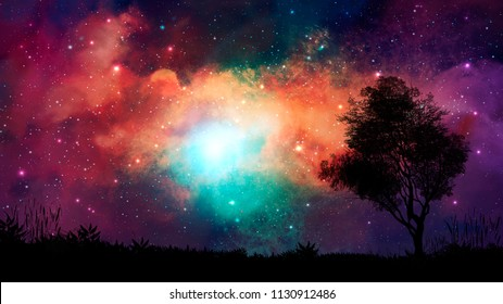 Space scene.Colorful nebula with tree silhouette. Elements furnished by NASA. 3D rendering