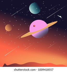 Space seen from the surface of Mars, a futuristic vision. Simple illustration design.