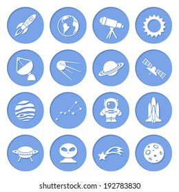 Space ship and astronomy icons set of rocket satellite earth alien isolated  illustration