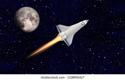 Space ship and the moon