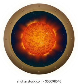 Space ship round window porthole with sun and stars, isolated. Elements of this image furnished by NASA
