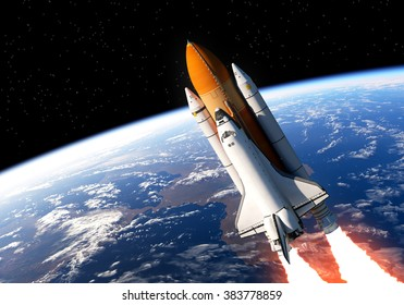 Space Shuttle In Space. 3D Scene. (NASA Images NOT USED).