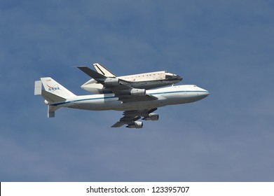 The Space Shuttle Endeavour does a flyby over Los Angeles before landing at LAX. September 21, 2012  Los Angeles, CA Picture: Paul Smith