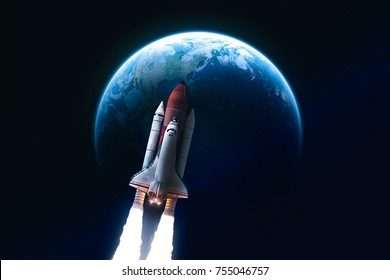 Space shuttle launch in the open space over the Earth. Blue gradient. Space concept wallpaper. Elements of this image furnished by NASA