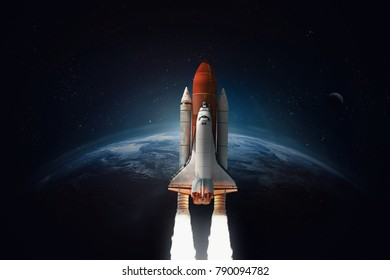 Space shuttle launch in the open space over the Earth. Blue gradient. Space art wallpaper. Elements of this image furnished by NASA