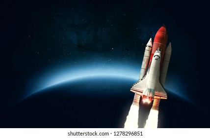 Space shuttle near blue exo planet. Wallpaper with the Star in outer space. Elements of this image furnished by NASA