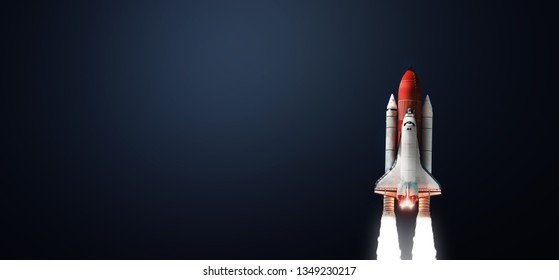 Space shuttle on dark isolated background. Wallpaper with the rocket. Elements of this image furnished by NASA