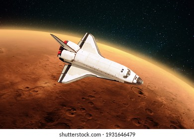 Space shuttle rocket is flying to the red planet Mars into outer space. Spacecraft performs a mission, journey and explores a new planet.