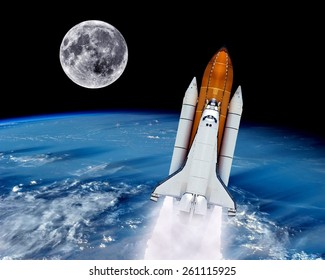 Space shuttle rocket launch earth spaceship moon. Elements of this image furnished by NASA.