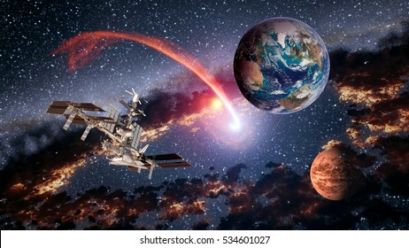 Space shuttle ship satellite spaceship Earth spacecraft planet Mars international station. Elements of this image furnished by NASA.