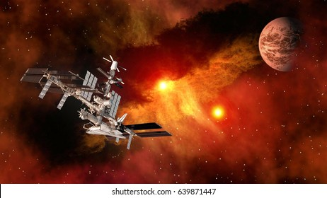 Space shuttle ship satellite spaceship spacecraft planet Mars international station. Elements of this image furnished by NASA.