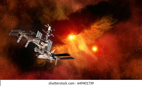 Space shuttle ship satellite spaceship spacecraft planet international station iss ufo. Elements of this image furnished by NASA.