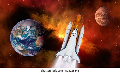 Space shuttle spaceship launch spacecraft planet Earth Mars rocket ship mission universe. Elements of this image furnished by NASA.