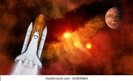 Space shuttle spaceship launch spacecraft planet Mars rocket ship mission universe. Elements of this image furnished by NASA.