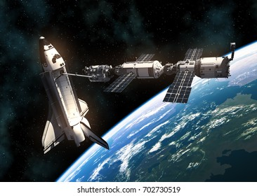 Space Shuttle And Space Station Orbiting Planet Earth. 3D Illustration.