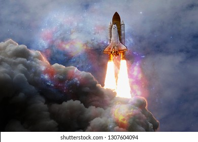 Space shuttle taking off on a mission. Deep space. Beauty of endless universe. Elements of this image furnished by NASA