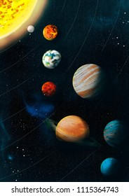 Space. Solar system. The sun and the planets. A beautiful illustration for printing on wallpaper, paper, posters and other surfaces.