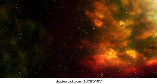 space with stars and golden clouds