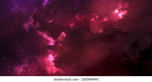 space with stars and pink clouds