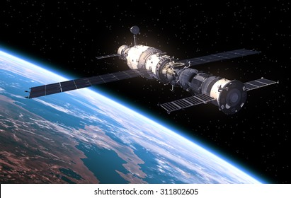 Space Station In Space. 3D Scene.