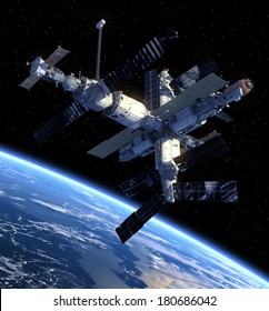 Space Station. 3D Scene. Elements of this image furnished by NASA.