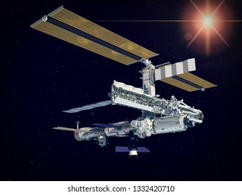 Space station in the deep space. The elements of this image furnished by NASA.