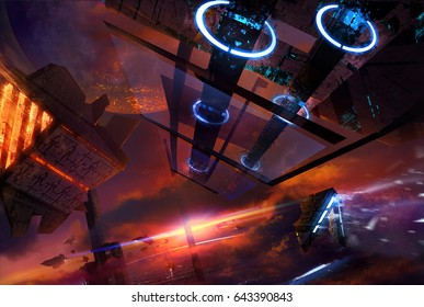 Space station with futuristic ships. Illustration on a futuristic space station in a sky with sunset and space ships flying.