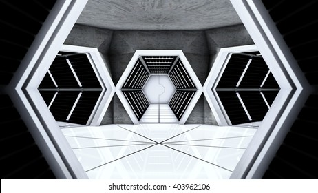 Space station hallway tunnels