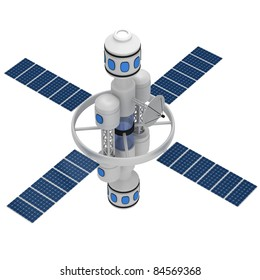 Space station isolated on a white background.