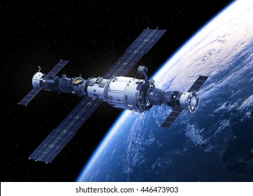 Space Station Orbiting Earth. 3D Illustration.